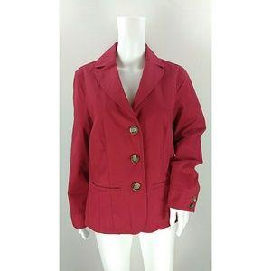 L. L. Bean red cotton jacket 3 button size 10